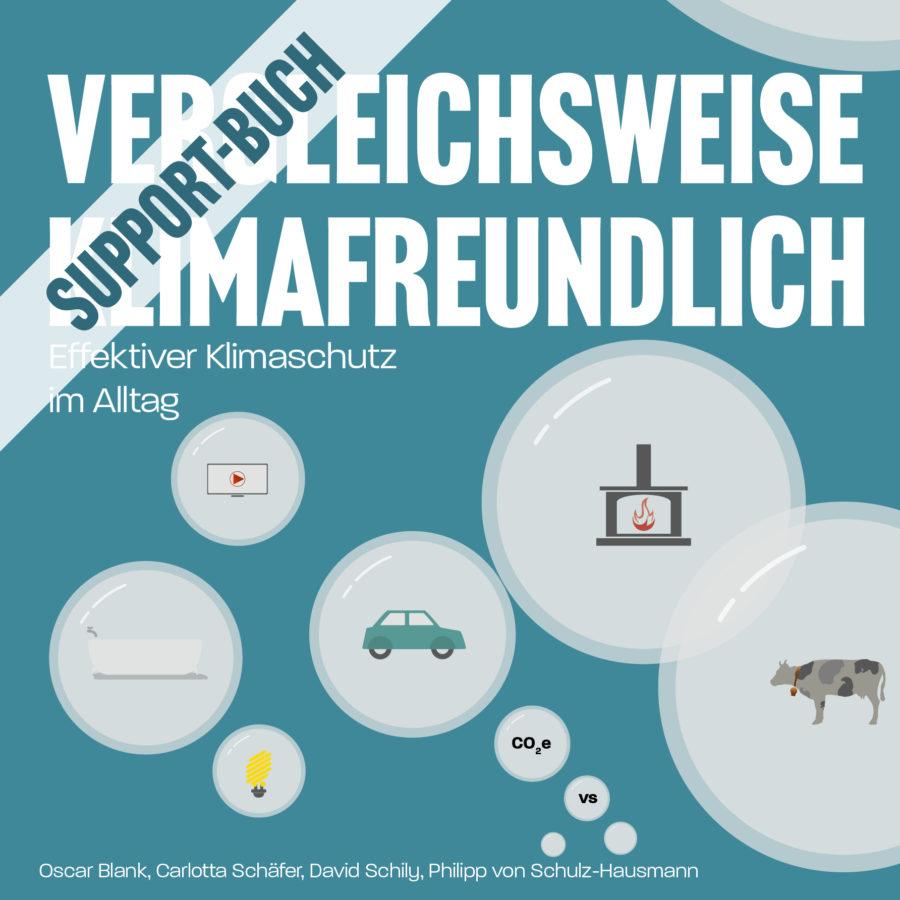 Cover des Support-Buchs Vergleichsweise Klimafreundlich - Das Buch über effektiven Klimaschutz im Alltag